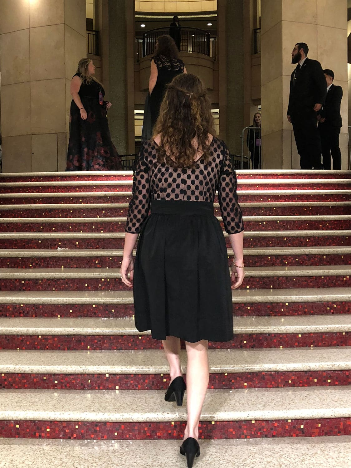 Walking the steps to the Dolby Theatre