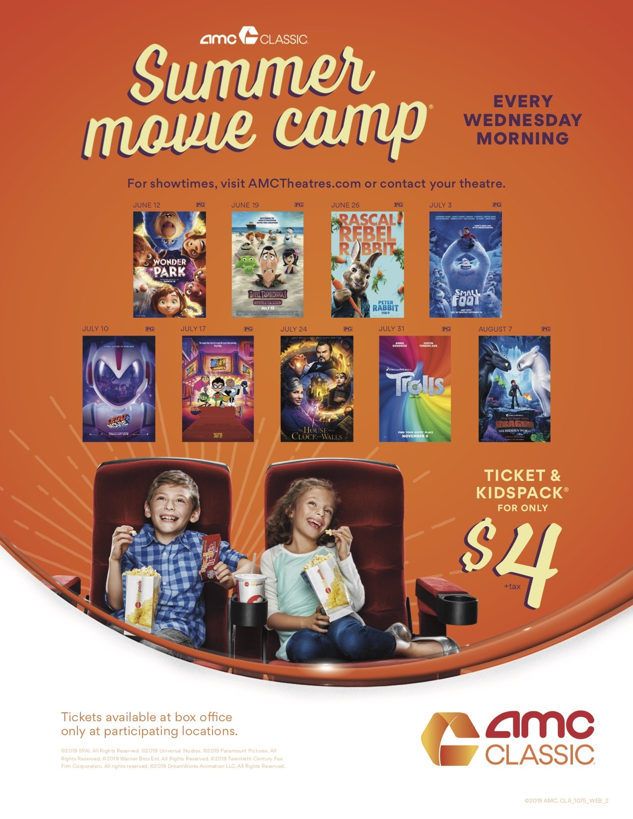 AMC Summer Movie Camp lineup
