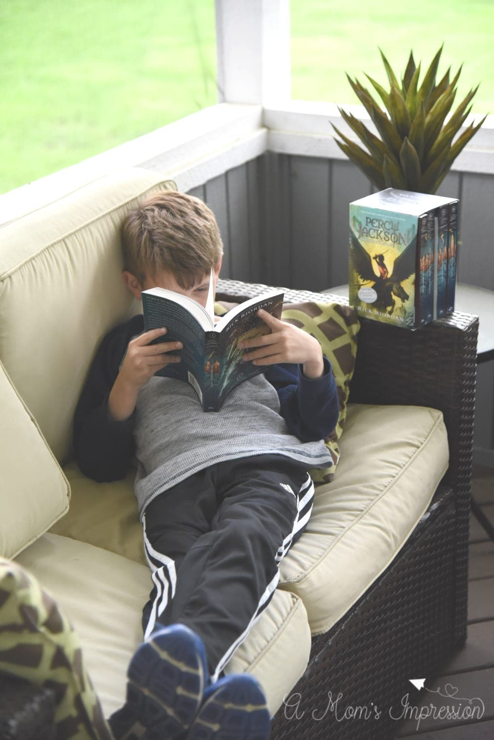 Reading Percy Jackson Book-on-the-screened-in-porch