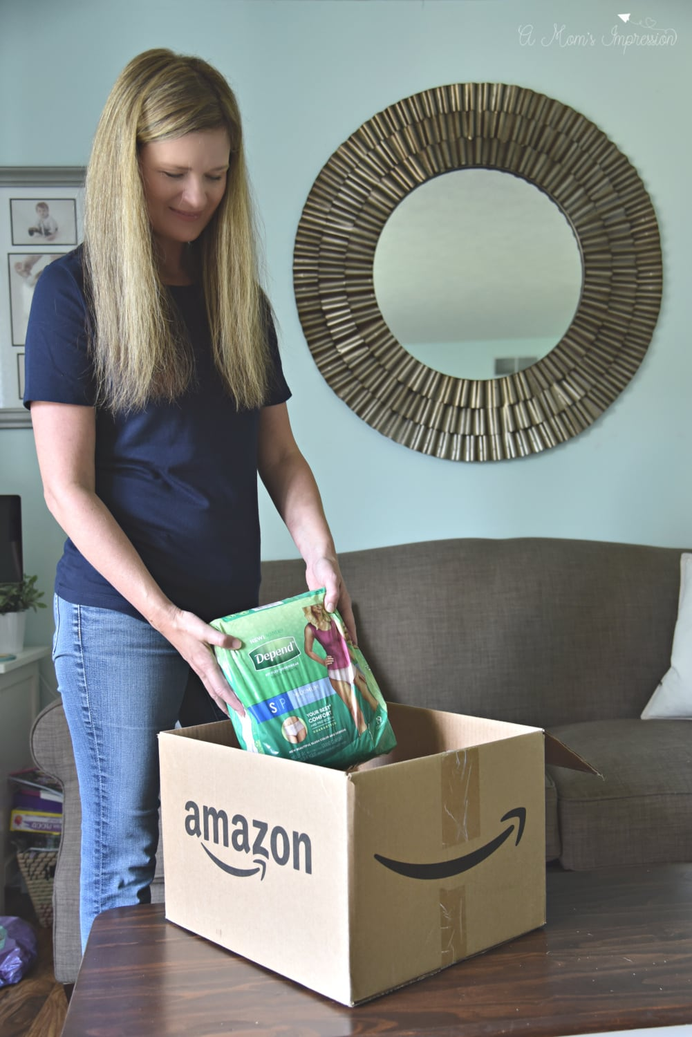 Depend delivery in an amazon box