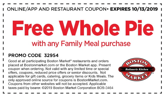 free apple pie coupon from boston market