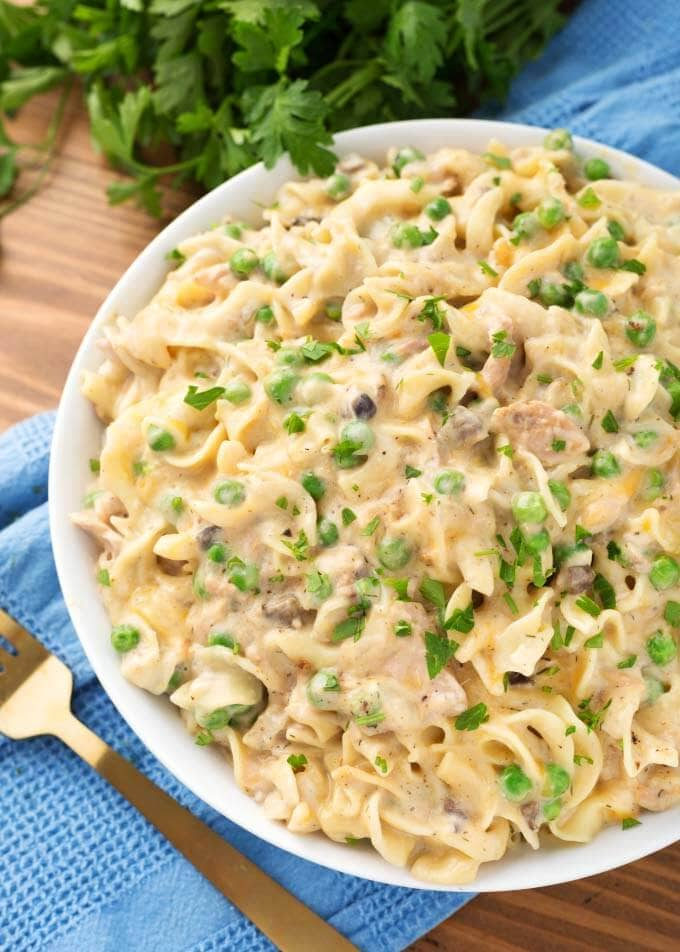 instant-pot-tuna-casserole in a large white dish
