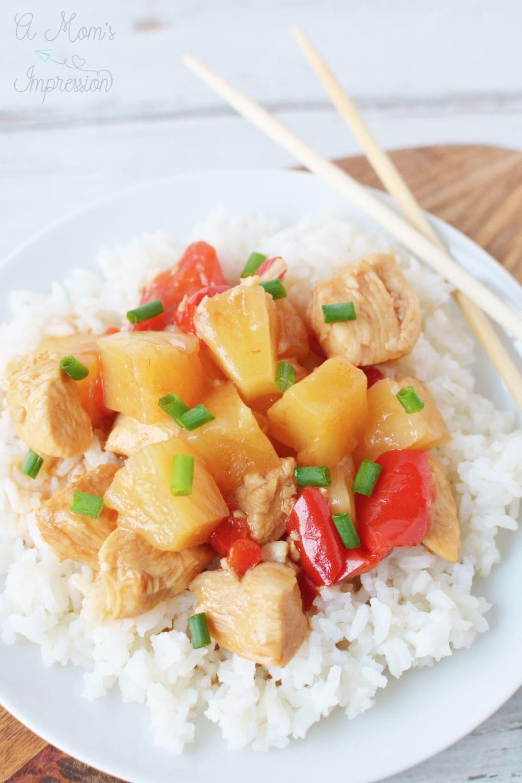 Instant Pot Hawaiian Chicken served on white rice
