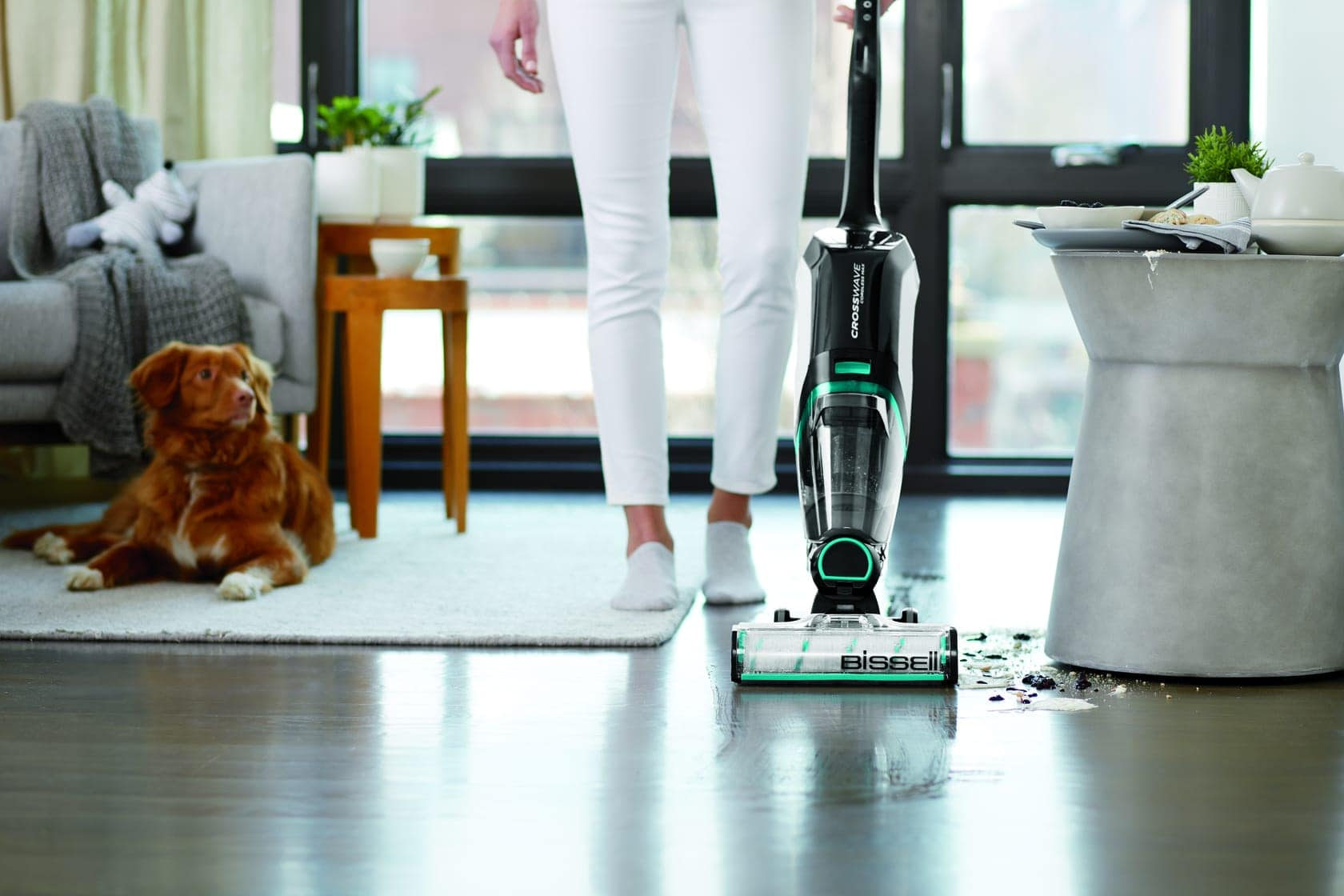 a woman vacuuming up a spill with a dog lying nearby