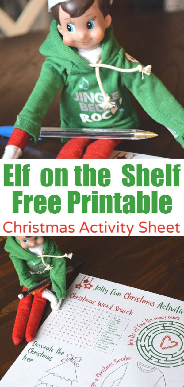 Elf christmas printable pinterest image