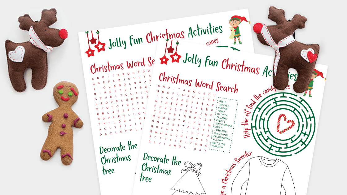 A printable Kids Activities Sheet for the holidays