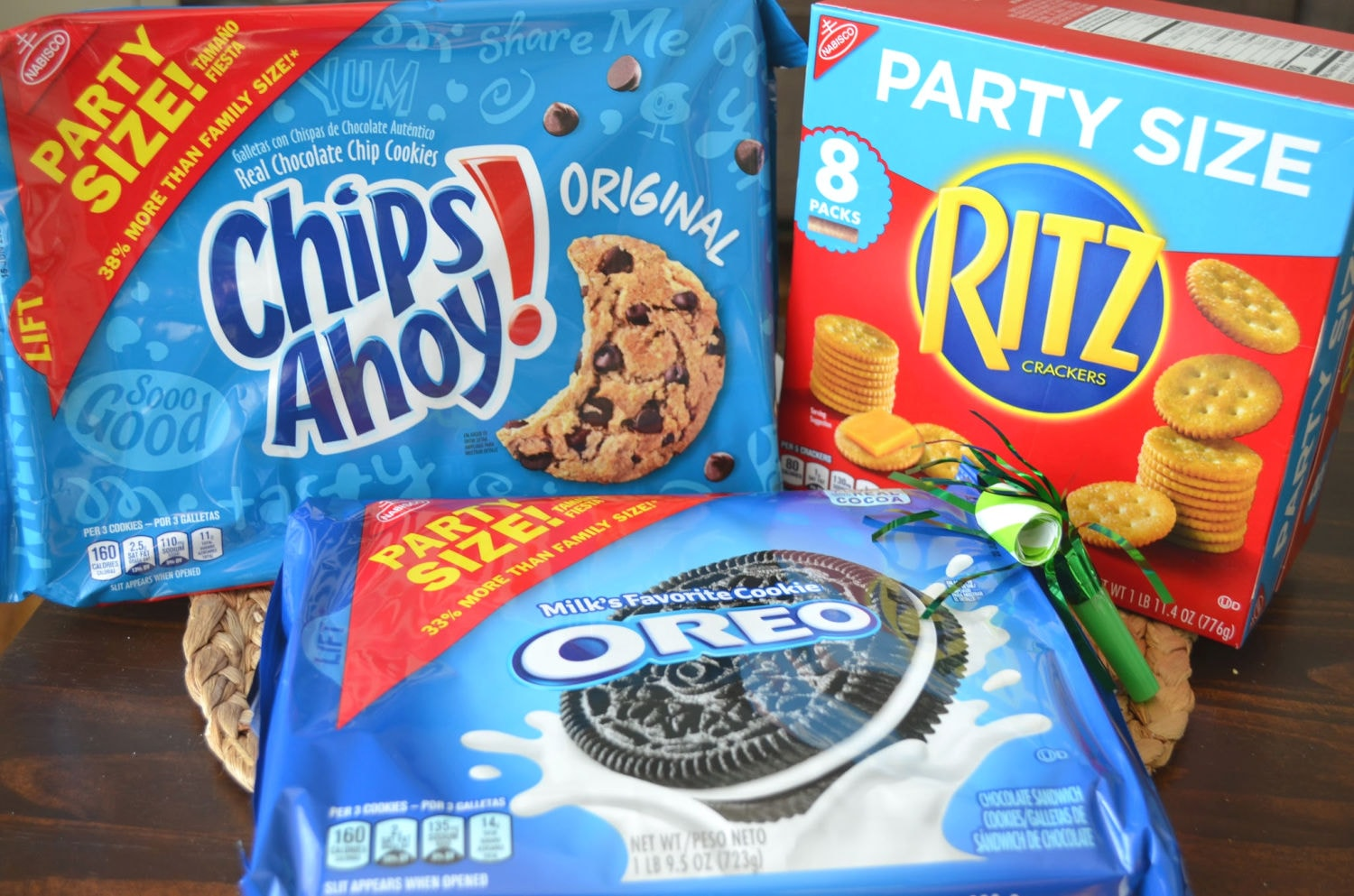 Nabisco Party Sized Products, oreo, ritz and chips ahoy