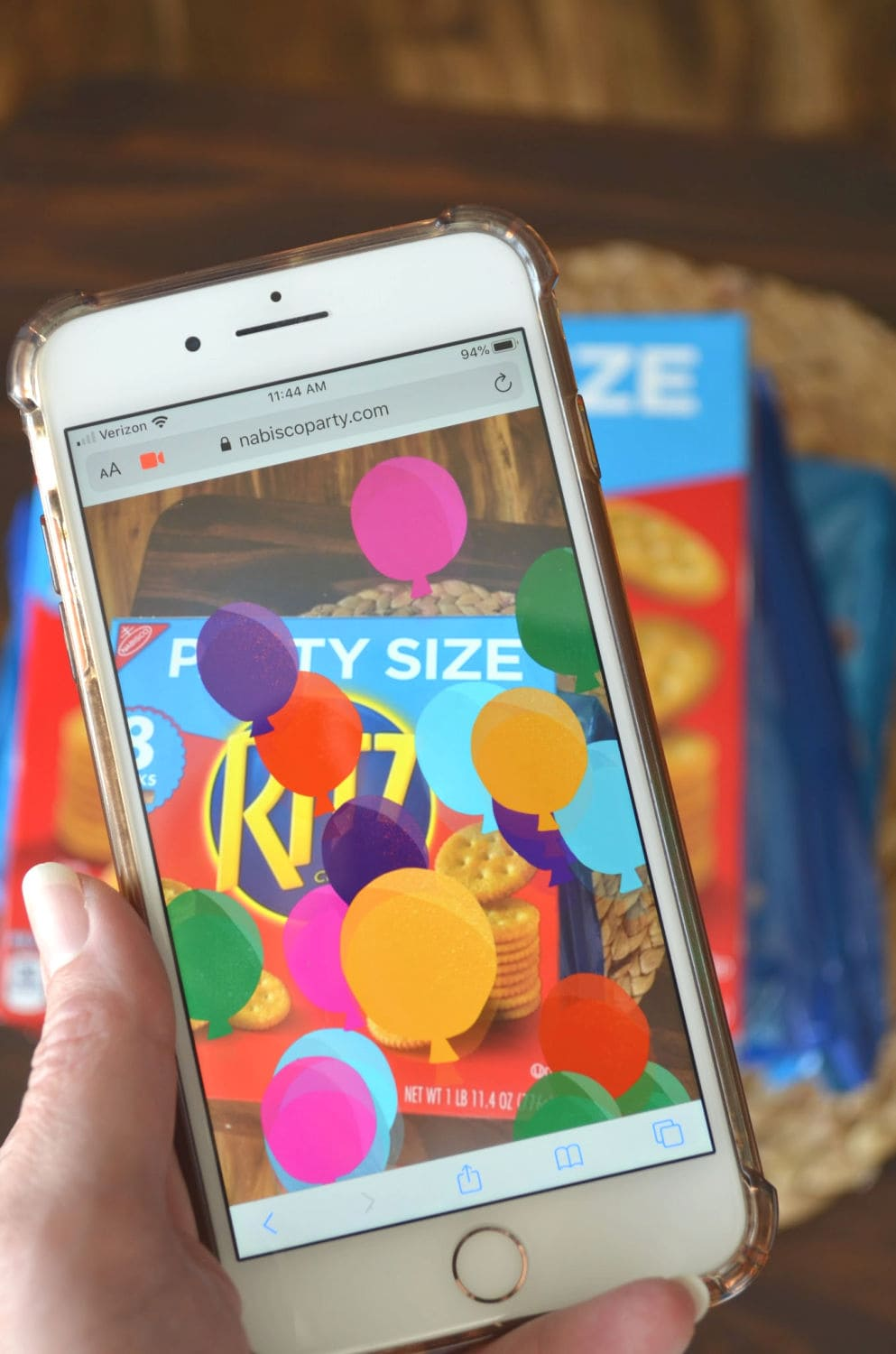 Augmented reality sweepstakes on a phone with balloons
