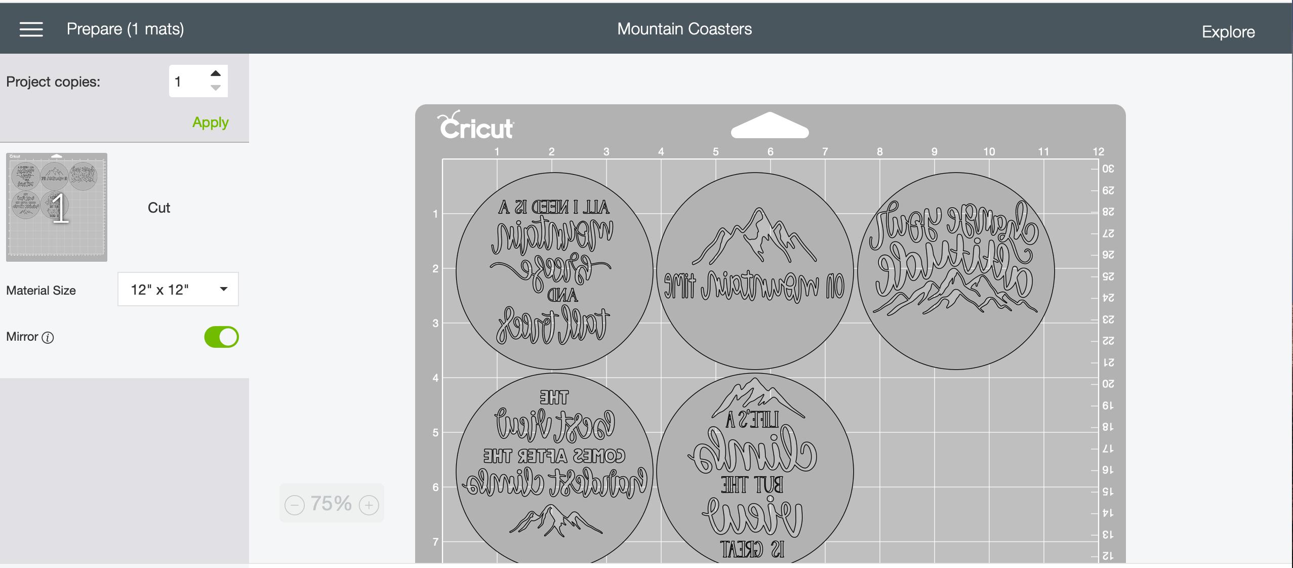Mirror Image in Design Space DIY coasters