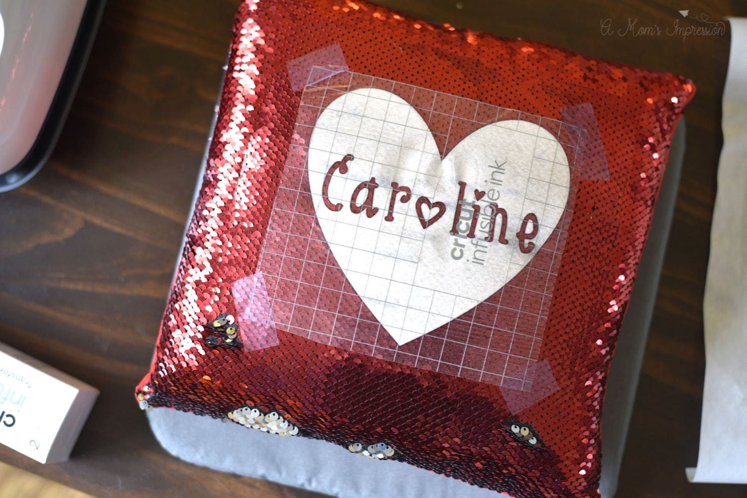 Name stencil for sequin pillow