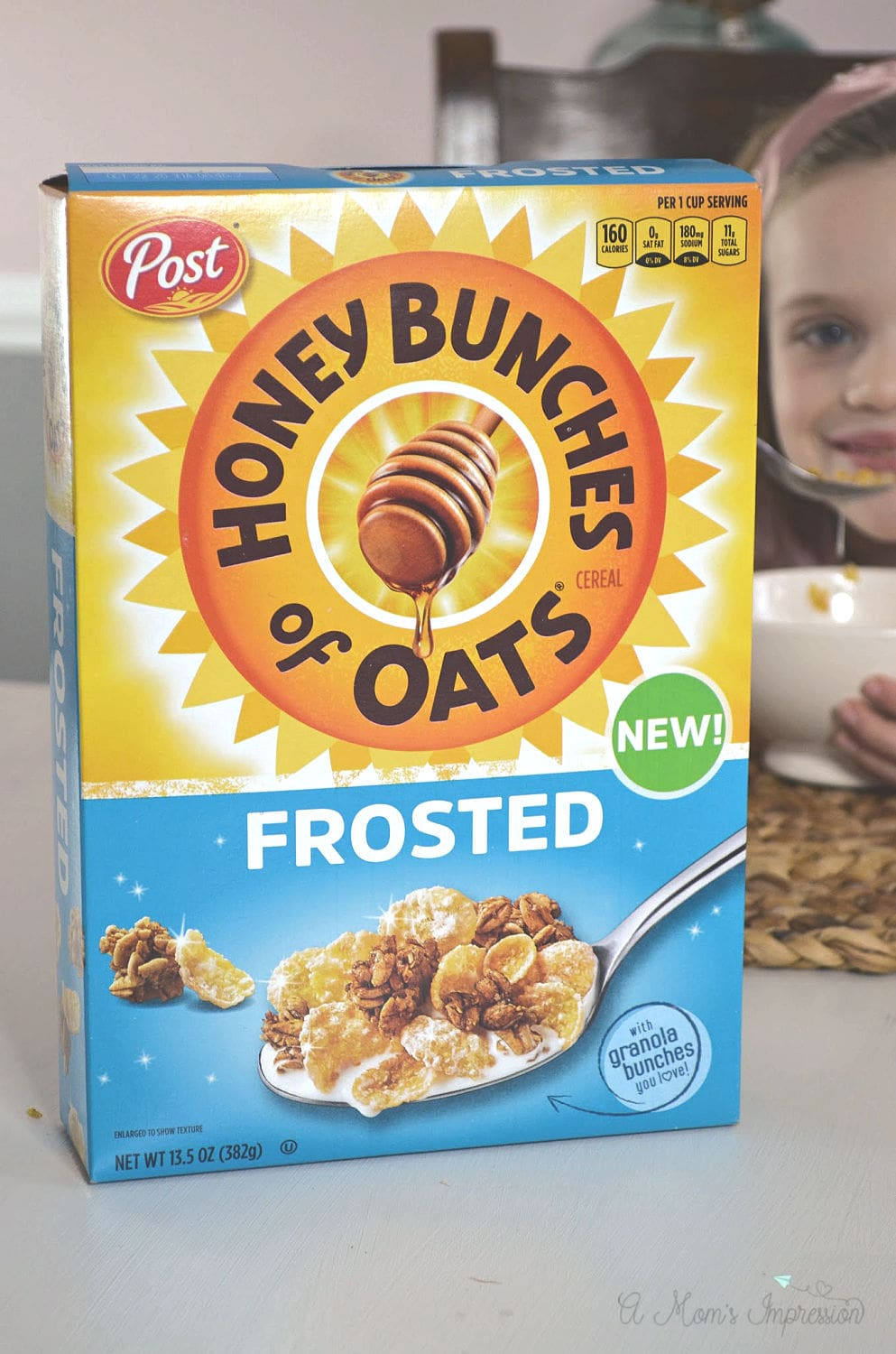 HOney bunches of oats sitting on a kitchen table