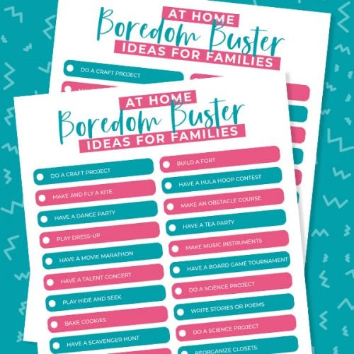 a printable with a list of activities for kids to do when they are bored