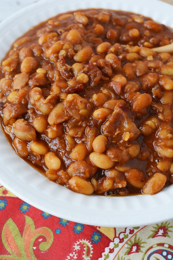 A large bowl of baked beans