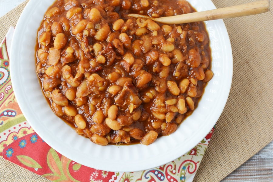 A big white bowl filled with Homemade baked beans