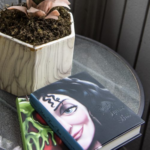 2 books sitting on a table next to a plant