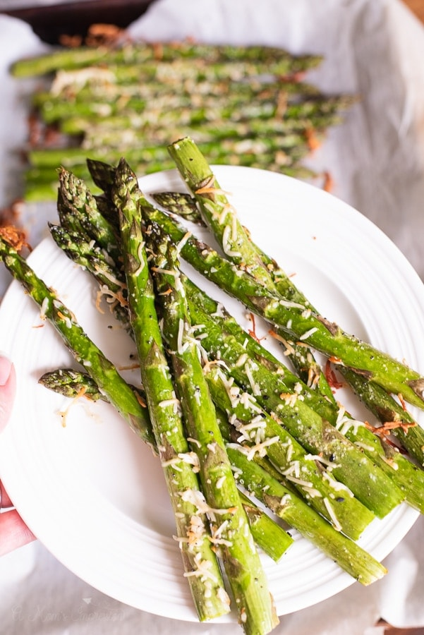 A plate of roasted asparagus