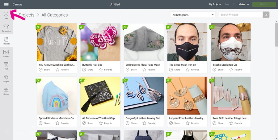 a screenshot of the cricut design space dashboard