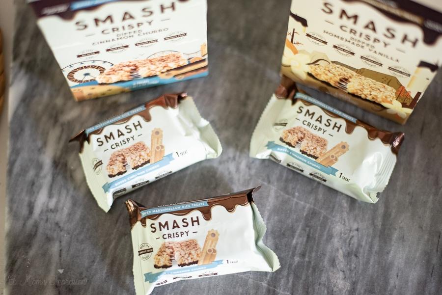 two boxes of smashmallow smash crispy treats
