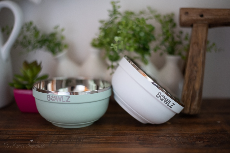 insulated ice cream bowls resting on the counter
