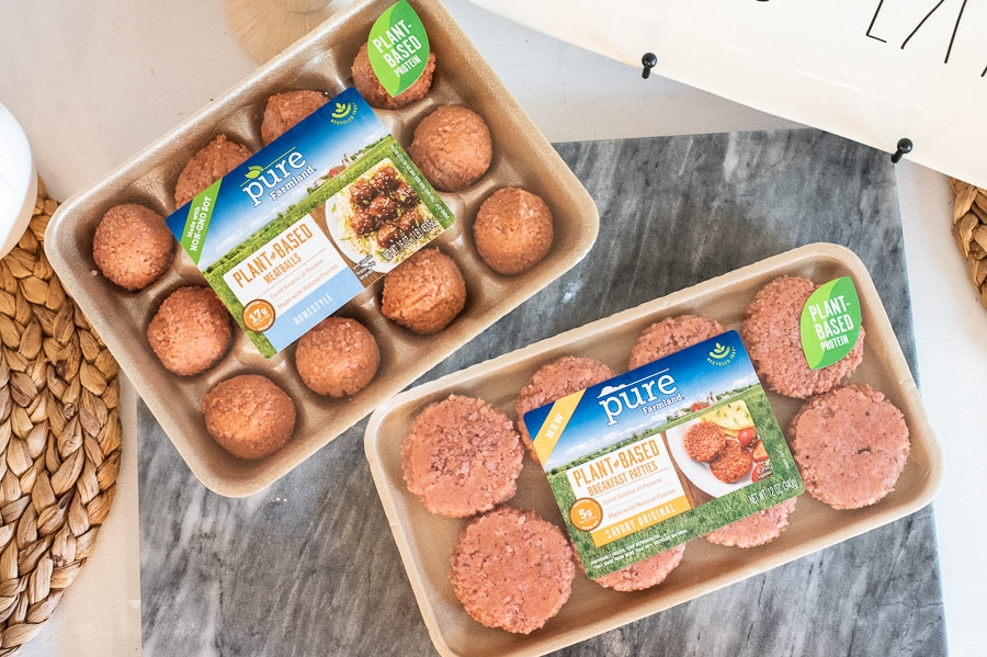 pure farmland plant based protein meatballs and sausage