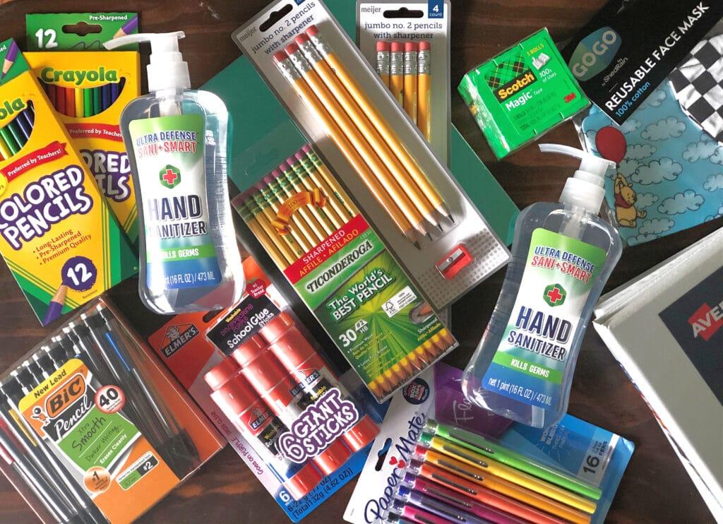 Meijer school supplies on a table