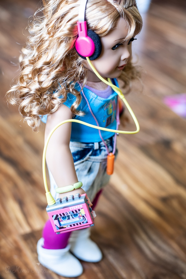 80's doll with walkman and headphones