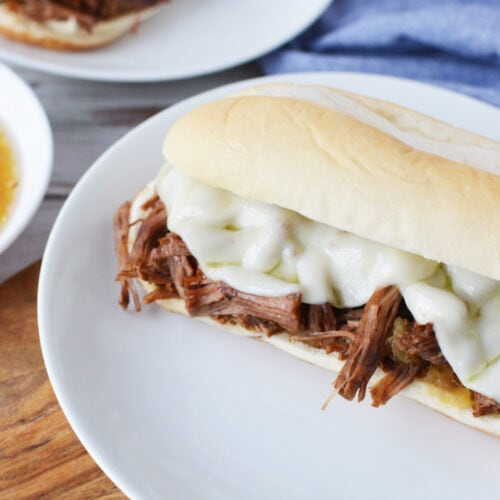 Instant Pot French Dip Sandwich being served on a white plate.