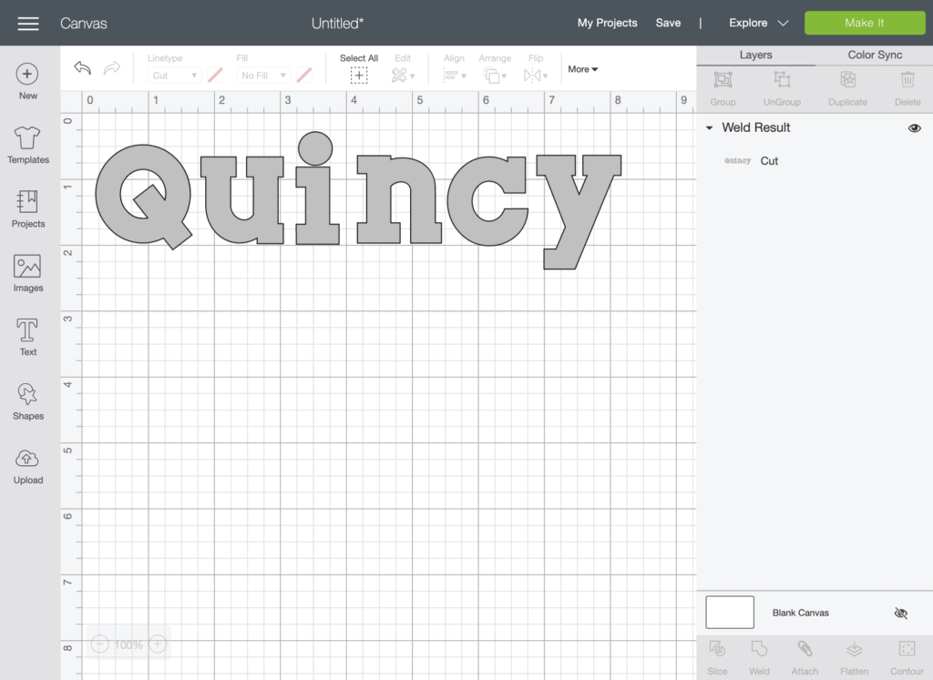 a screenshot of Cricut Design Space with the name Quincy on it