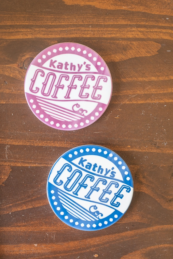 a red and blue coffee co coaster