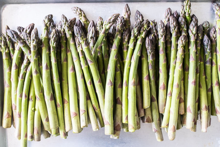 A ton of Michigan Asparagus laid out on a platter