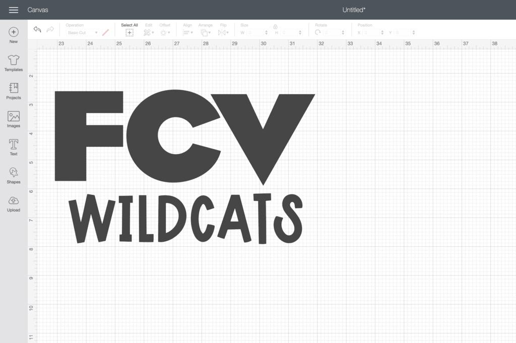 a design on Cricut Design Space
