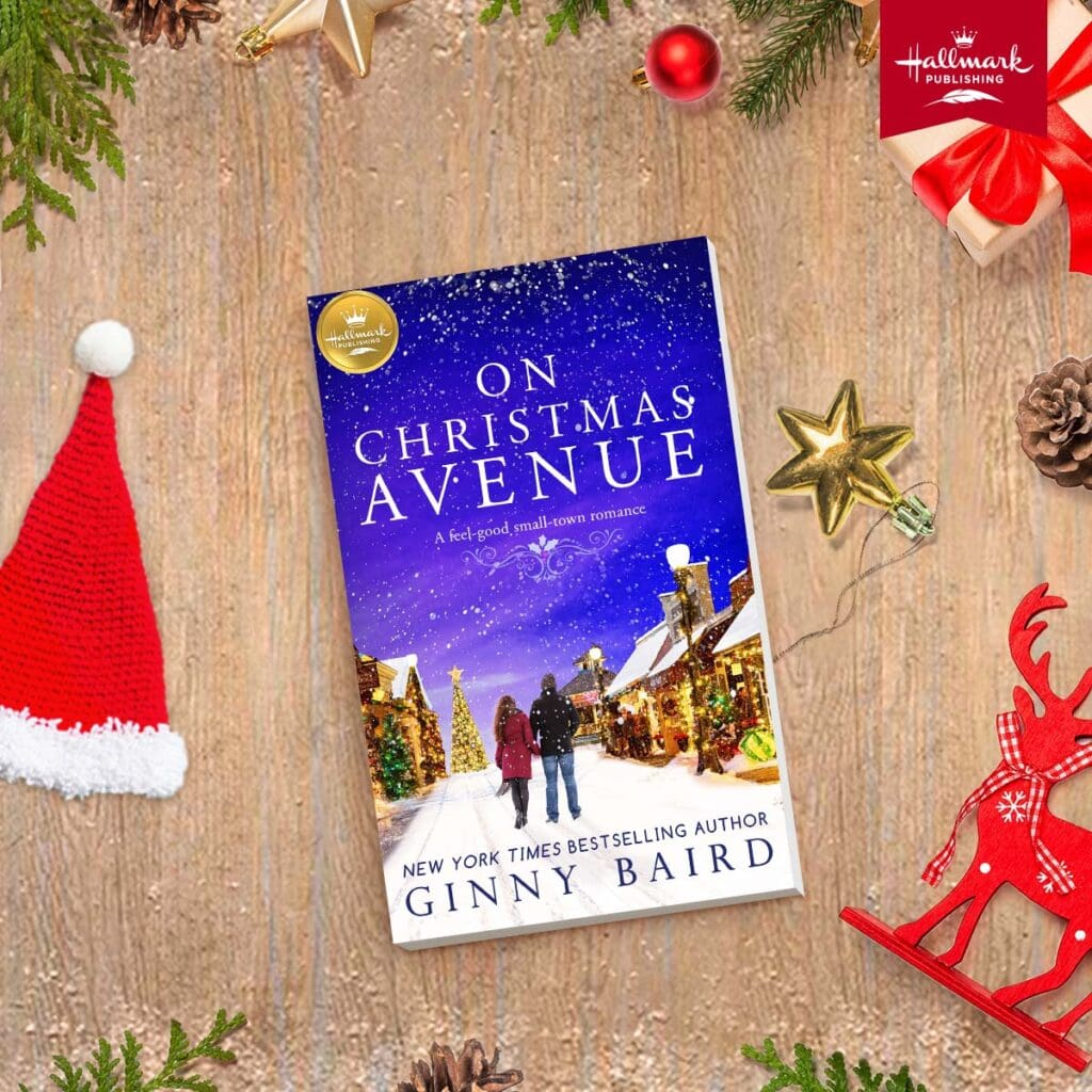 """The book """"On Christmas Avenue"""" surrounded by holiday decor"""