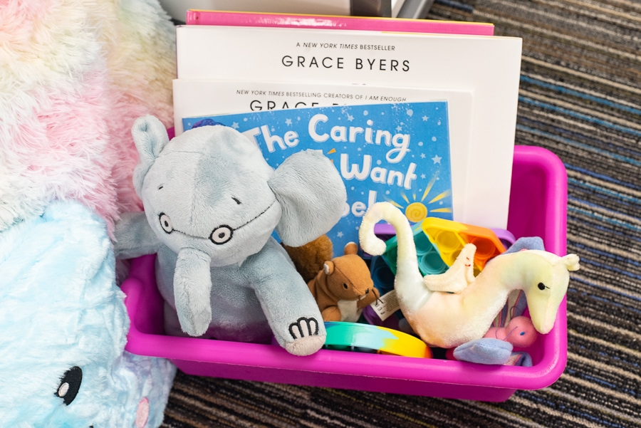 a box of toys and children's books