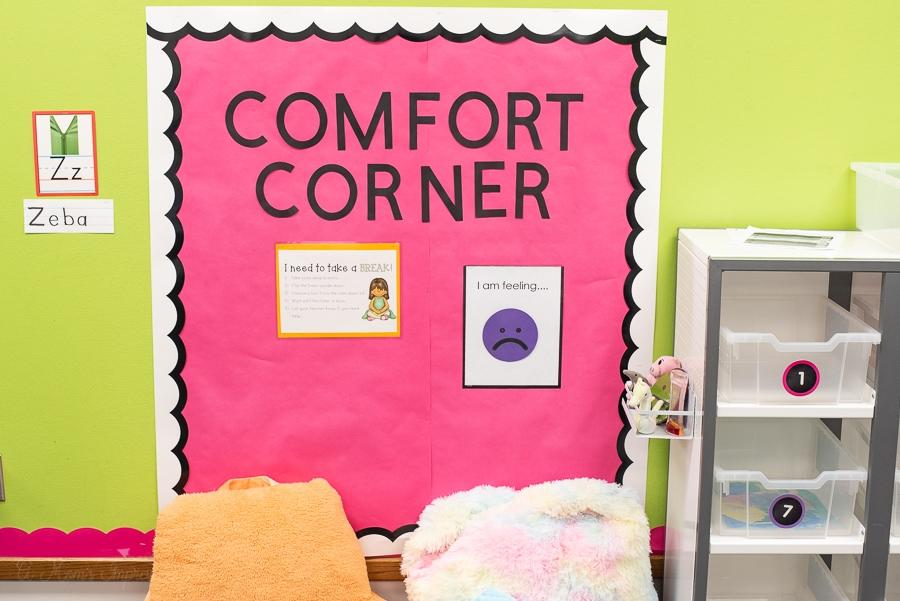 a classroom calming corner space